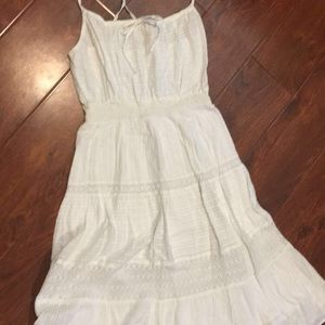 DKNY White cotton summer dress with eyelet